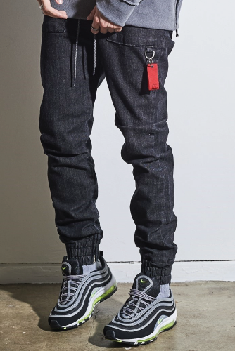 LAUL X B.T.D COMFORTABLE BLACK DENIM JOGGER PANTS 라울 컴포터블 흑청 조거팬츠
